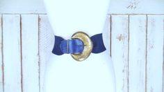 90s wide blue elastic stretch chord statement belt/wide blue bronze metal belt by GreenCanyonTradingCo on Etsy
