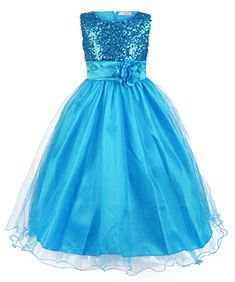 JerrisApparel New Long Sequined Mesh Flower Little Girls Tulle Prom Party Dress