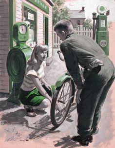 Pompe à Vélo : l'utiliser ou l'oublier - Significations & Interprétations Rêves - Tableau ©Arthur Sarnoff - 1912-2000 Church Picnic, Some Girls, Illustration, Westerns, Past, Pin Up, Auction, Artist