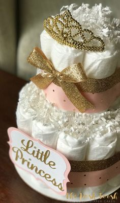 Pink and Gold Diaper Cake Baby Shower Centerpiece by ThePoshToosh