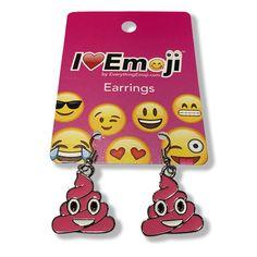 Emoji Pink Poo Silver Drop Earrings