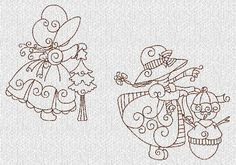Sunbonnets Christmas Holiday Redwork Machine Embroidery Designs. $7.00, via Etsy.