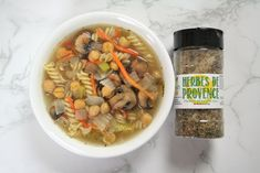 Delicious veggies, noodles, and chickpeas make this soup one of our favorites. It's simple to put together and filled with flavorful herbs from the FreshJax Herbes de Provence Sea Salt. You can use any kind noodle that you enjoy. It's equally good with traditional or gluten-free noodles.