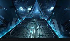 Skyforge Mechanoid Ship map, Viacheslav Bushuev on ArtStation at https://www.artstation.com/artwork/deNO1