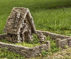 Fairy garden house and stone wall