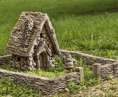 Fairy garden house and stone wall