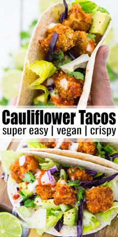 These vegan cauliflower tacos with vegan yogurt garlic sauce are the perfect comfort food! They're super crispy, easy to make, and sooo delicious! Find more vegan recipes at veganheaven.org! #vegan #veganrecipes