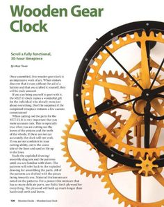 If you've been looking for a nice set of plans to make your own working wooden gear clock, one place you might want to consider is this book...