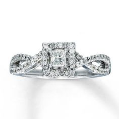LOVE LOVE LOVE LOVE LOVE.... Thats all I can say about this ring!!!!     Diamond Engagement Ring 1/2 ct tw Princess-cut 14K White Gold