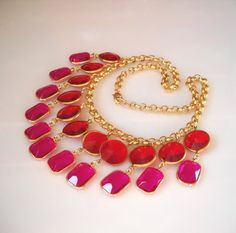 Pink and Red vintage bib necklace