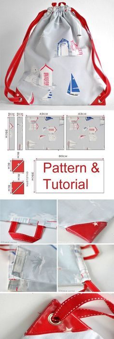 Drawstring Backpack Sewing Tutorial. http://www.free-tutorial.net/2017/09/drawstring-backpack-sewing-tutorial.html