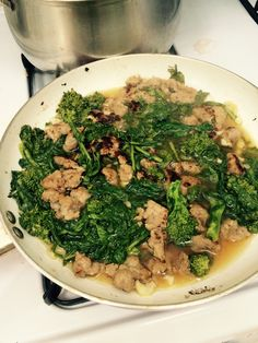 Sweet Italian sausage crumbled with broccoli rabe, garlic in vegetable stock... Add to pasta and enjoy