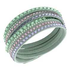 Swarovski Slake Light Green Deluxe Bracelet (92 CAD) ❤ liked on Polyvore featuring jewelry, bracelets, jewels, swarovski bangle, bracelet jewelry, swarovski jewellery, swarovski jewelry and swarovski bracelet