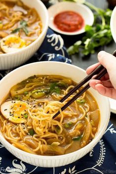 We switched up for a miso broth and added broccoli florets. This Easy Chicken Ramen can be made at home in about 30 minutes! A flavorful broth with chicken and noodles, and don't forget the ramen egg! Ramen Noodle Soup, Ramen Noodle Recipes, Soup Recipes, Chicken Recipes, Cooking Recipes, Ramen Noodles, Easy Ramen Recipes, Noodle Noodle, Noodle Salad