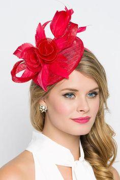 "Red Fascinator - ""Emelia Rose"" Red Fascinator Hat Headband w/ Round Sinamay Base Sombreros Fascinator, Fascinator Headband, Hair Fascinators, Red Hat Society, Kentucky Derby Hats, Cocktail Hat, Fancy Hats, Pink Hat, Wedding Hats"