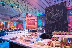 At the annual Rammy awards gala, held at the Walter E. Washington Convention Center in June, food pavilions made from pallet wood were covered in chalkboards that featured the each station's sponsor and the menu items in decorative writing.