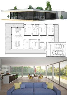 Contemporary home plan with simple lines and full wall height windows. Three bed… Contemporary home plan with simple lines and full wall height windows. Contemporary House Plans, Modern House Plans, Small House Plans, Minimalist House Design, Minimalist Home, Modern House Design, Dream House Plans, House Floor Plans, Concept Home