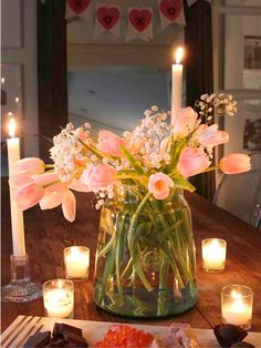 Valentine's Day candlelit dinner for 2 - set this neutral valentine's day table surrounded by candlelight and fresh flowers. An easy and simple table idea. Valentines Day Decorations, Valentines Diy, Valentine Day Gifts, Christmas Decorations, Home Decor Trends, Home Decor Inspiration, Diy Home Decor, Creative Inspiration, Spring Home