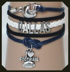 Show your Dallas Cowboys colors with this Cowboys football bracelet, just in time for football season.