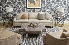 Allegra Sofa and Chairs, Riley Square Ottoman
