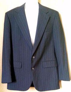 Chaps Ralph Lauren Black Striped Virgin Wool 2 Btn Blazer sz 40 #ChapsRalphLauren #TwoButton