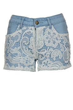 These adorable lace crochet denim shorts are a must-have for Summer!  Available in size S-XL.
