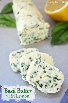 Basil Butter with Lemon- Compound Butter Recipe- delicious with bread or served atop steak and seafood. Basil Butter Recipe, Flavored Butter, Homemade Butter, Lemon Butter, Garlic Butter, Basil Bread Recipe, Lemon Bread, Homemade Breads, Fresh Basil Recipes