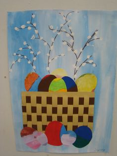 perhaps finger prints! Love the background too Easter Activities, Spring Activities, Art Activities, Easter Arts And Crafts, Diy And Crafts, Paper Crafts, Diy Ostern, Paper Weaving, Spring Art