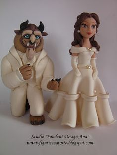 "Studio ""FONDANT DESIGN ANA"" - Figurice za torte (fondant figures): Lepotica i zver (Princess Belle&Beast - Beauty and..."