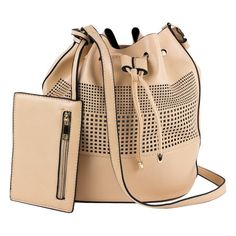 PU leather Bucket handbag Drawstring closure Lined Comes with zippered coin purse X X Bucket Handbags, Laser Cutting, Pu Leather, Bucket Bag, Purses And Bags, Beige, Best Deals, Closure, Fashion