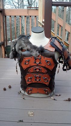 "The ""Nomad"" Body Plate & Spaulders. Leather. Fur. Armor. Chest. Back. Shoulders LARP."