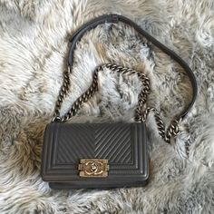 Chanel Leboy Chevron Small CHANEL Leboy. Gray chevron. Favorite blogger piece. A closet must have! Personal collection. Currently not selling. CHANEL Bags Crossbody Bags