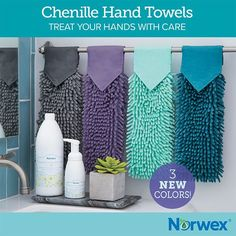 Norwex Australia new products spring 2017. Chenille hand towel now comes in three new colours!