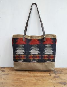 Woolen Mills Tote:  Waxed canvas and Vermont Wool  by FoliageHandbags. Handmade in Vermont