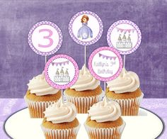 Sofia the first, Princess Sofia Custom Cupcake Toppers, Custom Printable, DIY Personalized Invitations, and Party Decor. $4.95, via Etsy.