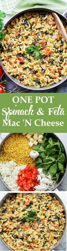 One Pot Spinach & Feta Macaroni and Cheese ~ covered in a creamy feta cheese sauce, tomatoes and fresh spinach!