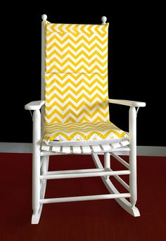 Superior Rocking Chair Cushion Yellow Chevron By RockinCushions Awesome Design