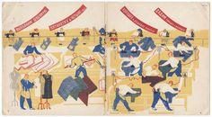 Lev Abramovich Kassil'. Tysiachu plat'ev v den' (One Thousand Dresses a Day). Illus. by Ol'ga Deineko and Nikolai Troshin. Moscow: Molodaia gvardiia, 1930