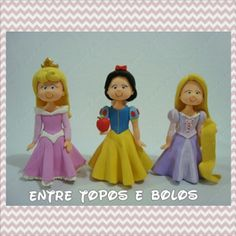 Topos de bolo princesas. #caketopper  #topcake  #topodebolo  #biscuit #coldporcelain  #princess  #disney by Entre Topos e Bolos, via Flickr  https://www.facebook.com/pages/Entre-Topos-e-Bolos/124896477695433