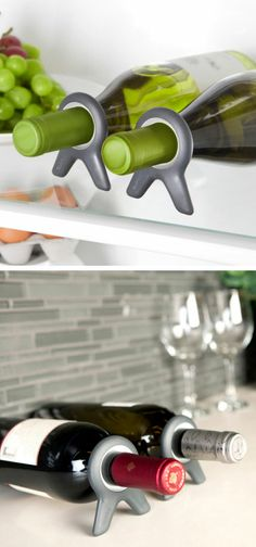 Wine Bottle Holders // Keep your bottles from rolling around in the fridge, allows you to lay them down flat & stack them for space saving