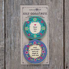 "Car Coaster Set Bless Car Angel - What's better than one super cute, absorbent car coaster? A set of two, of course! Colorful design with ""May you always have an angel at your side"""
