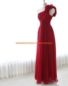 Einschulter Kolumen Lange Rote Abendkleider aus Chiffon  mit Blumen