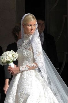Nicky Hilton is now Mrs. The bride wore a stunning Valentino gown complete with a lace o… Star Wedding, Chic Wedding, Dream Wedding, Nicky Hilton Wedding, Priscilla Presley Wedding, Royal Wedding Gowns, Long Sleeve Wedding, Vintage Bridal, Wedding Attire