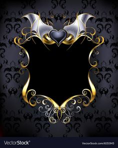 Illustration of black banner with a gold frame and a black vampire heart on the dark patterned background. vector art, clipart and stock vectors. Black Vampire, Black Banner, Banner Background Images, Crown Background, Background Patterns, Game Logo Design, Professional Logo Design, Borders And Frames, Ornaments Design