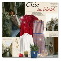 """Chic in Plaid..."" by nannerl27forever ❤ liked on Polyvore featuring P.A.R.O.S.H., Tory Burch, Valentino, Oscar de la Renta, Frame, Mark Cross, John Lewis, Yves Saint Laurent, Michael Kors and Saks Fifth Avenue"