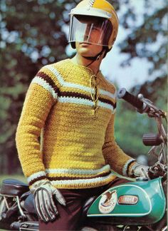 Crochet Inspiration: Unknown. He's wearing a Skidoo helmet.