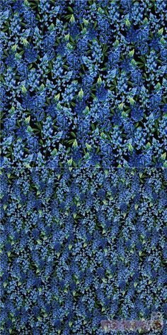 cotton fabric on black with bright blue floral stalks and green leaves, very high quality fabric, typical great Timeless Treasures quality, Material: 100% cotton #Cotton #Flower #Leaf #Plants #USAFabrics