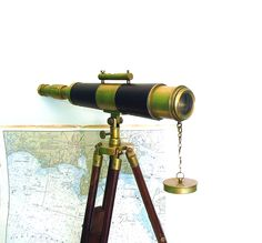 Vintage Telescope with Tripod Nautical Telescopes Brass Spyglass Wood Leather