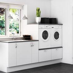 Setup of washer / dryer – Laura Vogel Setup of washer / dryer Setup of washer / dryer – White Laundry Rooms, Modern Laundry Rooms, Laundry Room Layouts, Wood Bathroom, Laundry In Bathroom, Small Bathroom, Küchen Design, House Design, Landry Room