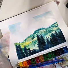 A landscape to kick off Tuesday morning! I'm so inspired by photos/film from the 70s - that vague yellow/green haze around everything is so beautiful. . . #art #sketch #sketchbook #gouache #watercolor #painting #landscape #paints #artsy #artistsoninstagram #arte #arts #artist #artoftheday #nature #camping #adventure
